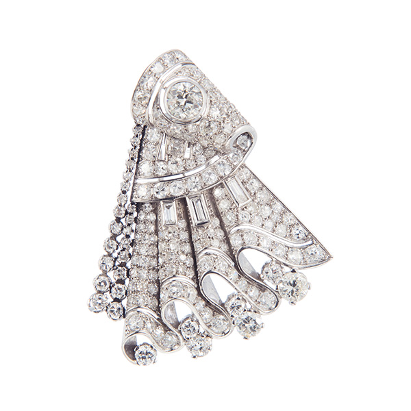 Broche de abanico Art-Decó de platino y diamantes