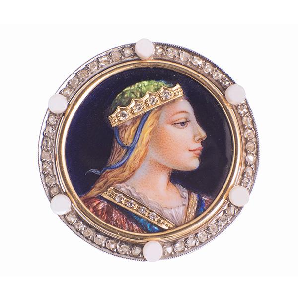 Broche de esmalte con filo de diamantes de oro