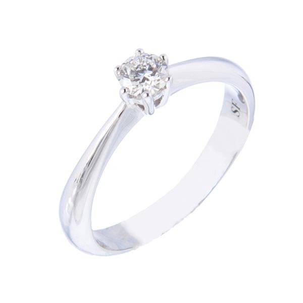 Solitario de oro blanco, seis garras con un diamante